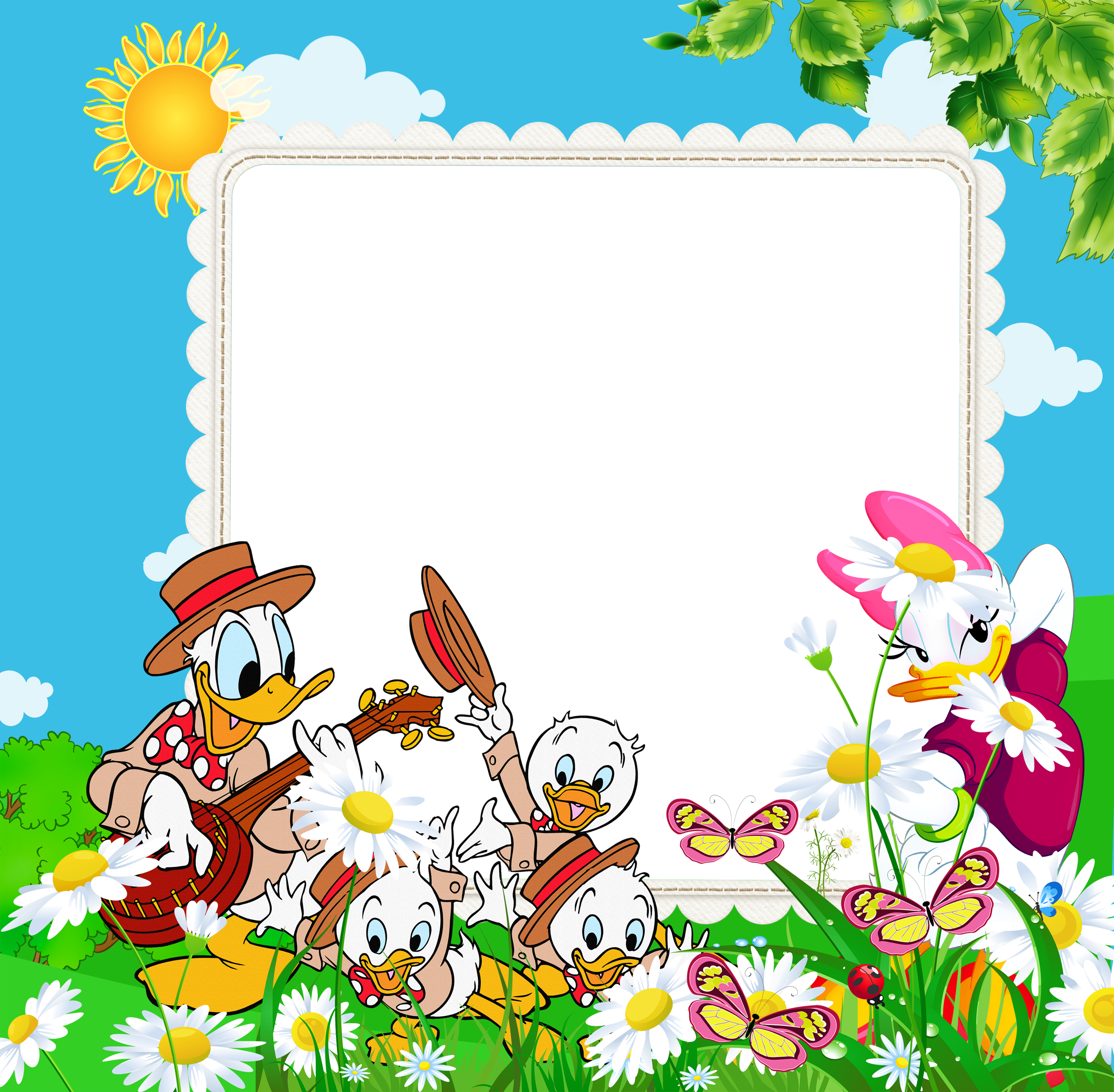 Frames for kids png. Transparent frame with ducks