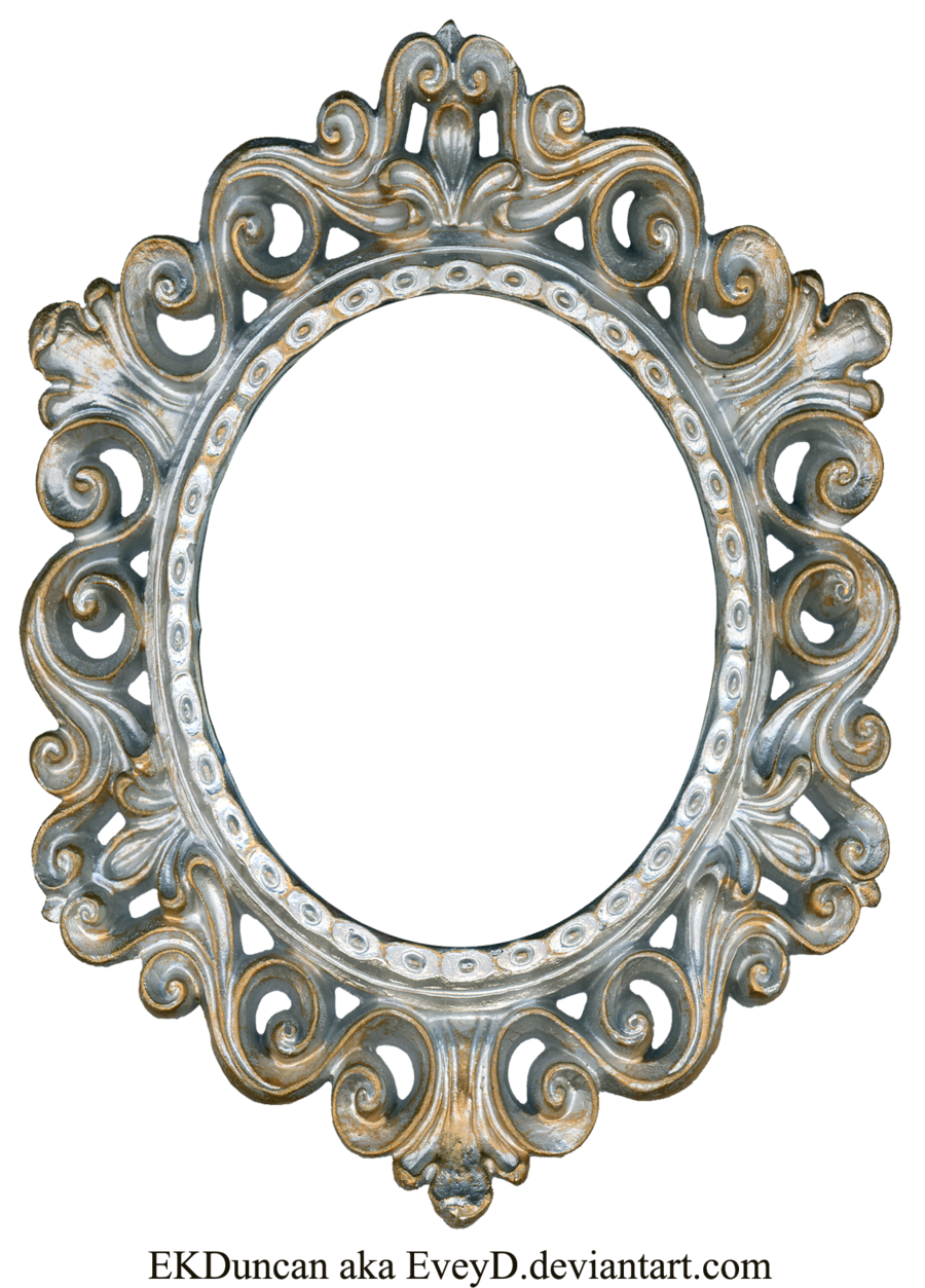 Oval gold frame png. Vintage silver and by
