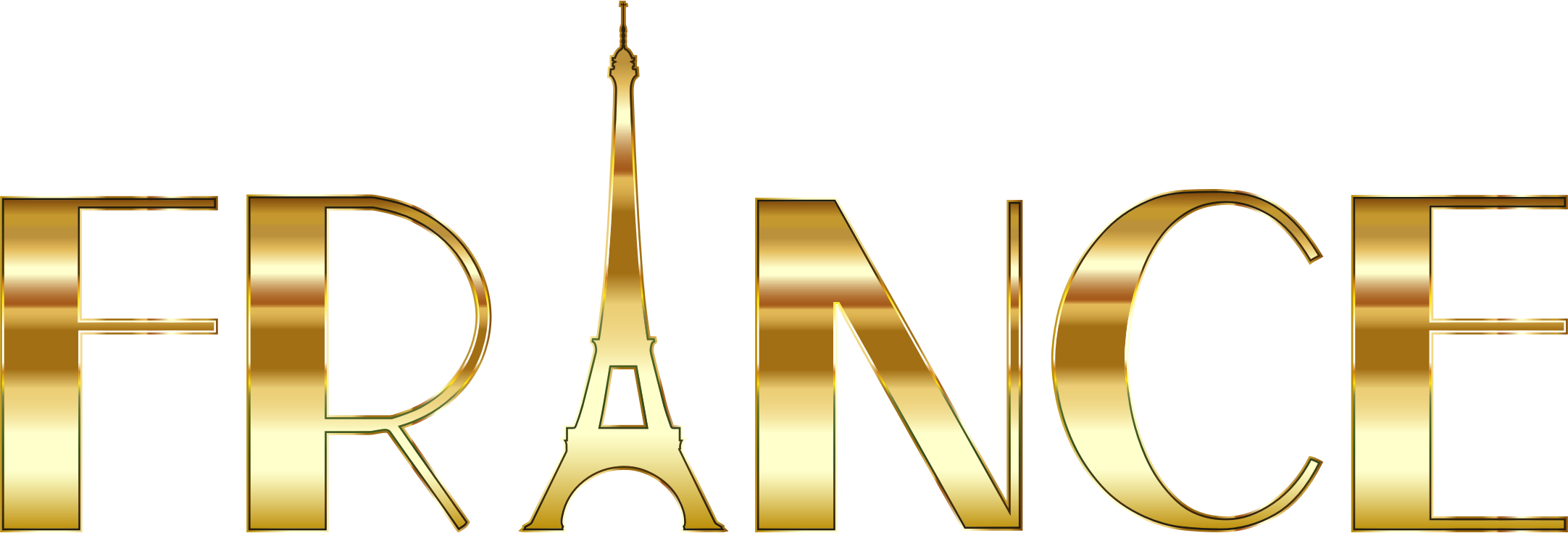 France clipart. Typography gold big image
