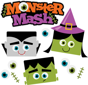 Frankenstein transparent monster mash. Halloween svg scrapbook collection