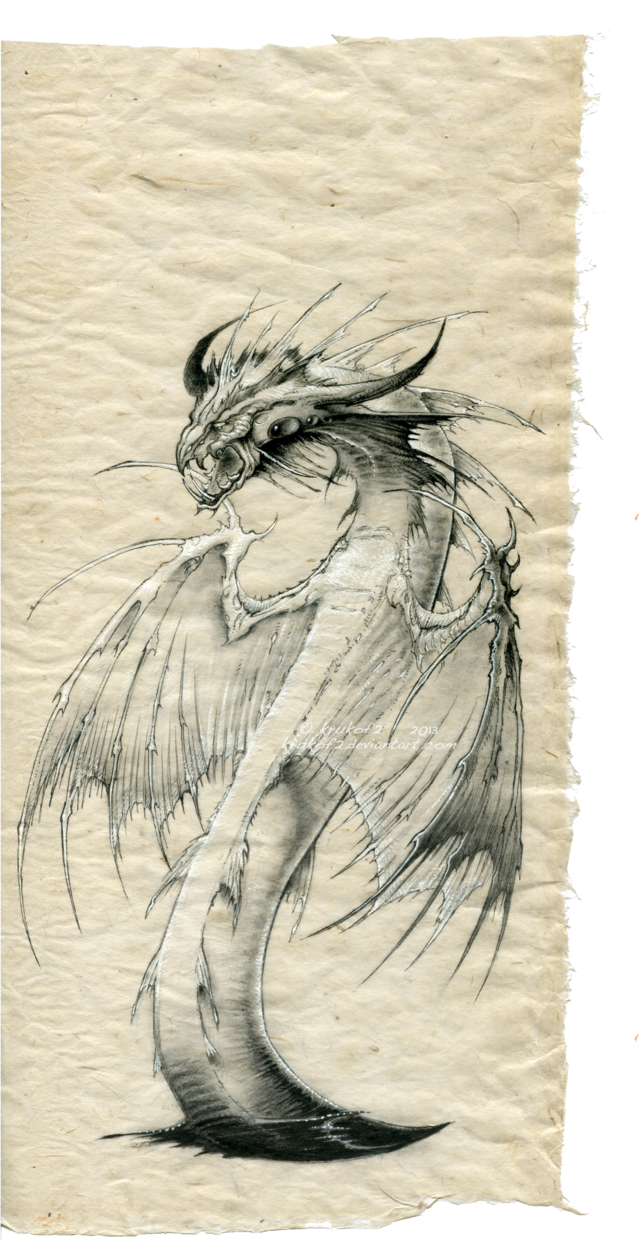 Frazetta drawing sketch. Dragon abyssal art