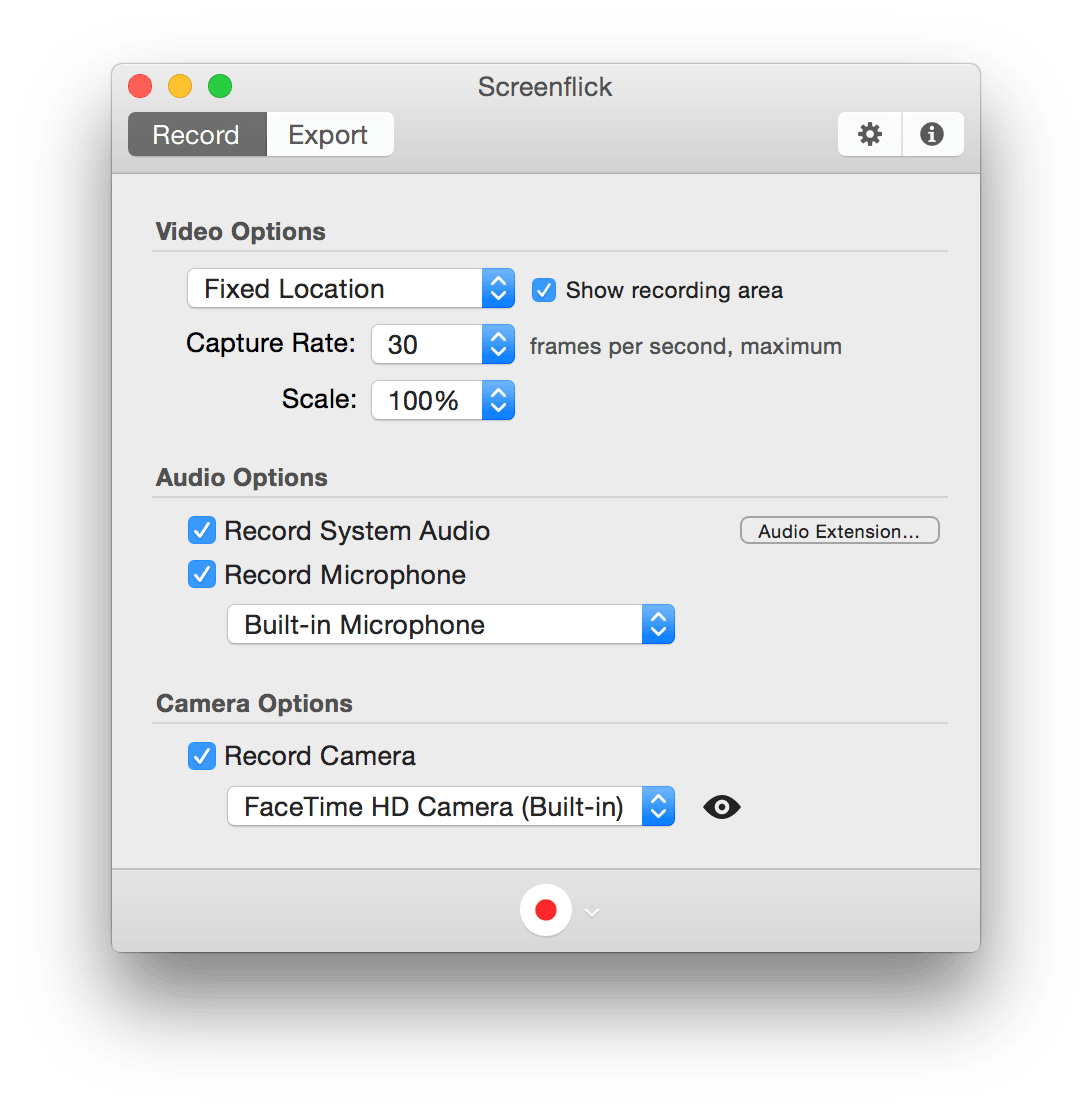 Free camera recording screen png. Screenflick mac recorder with