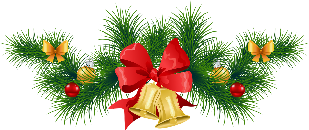 Christmas clipart transparent background. Pine garland with bells