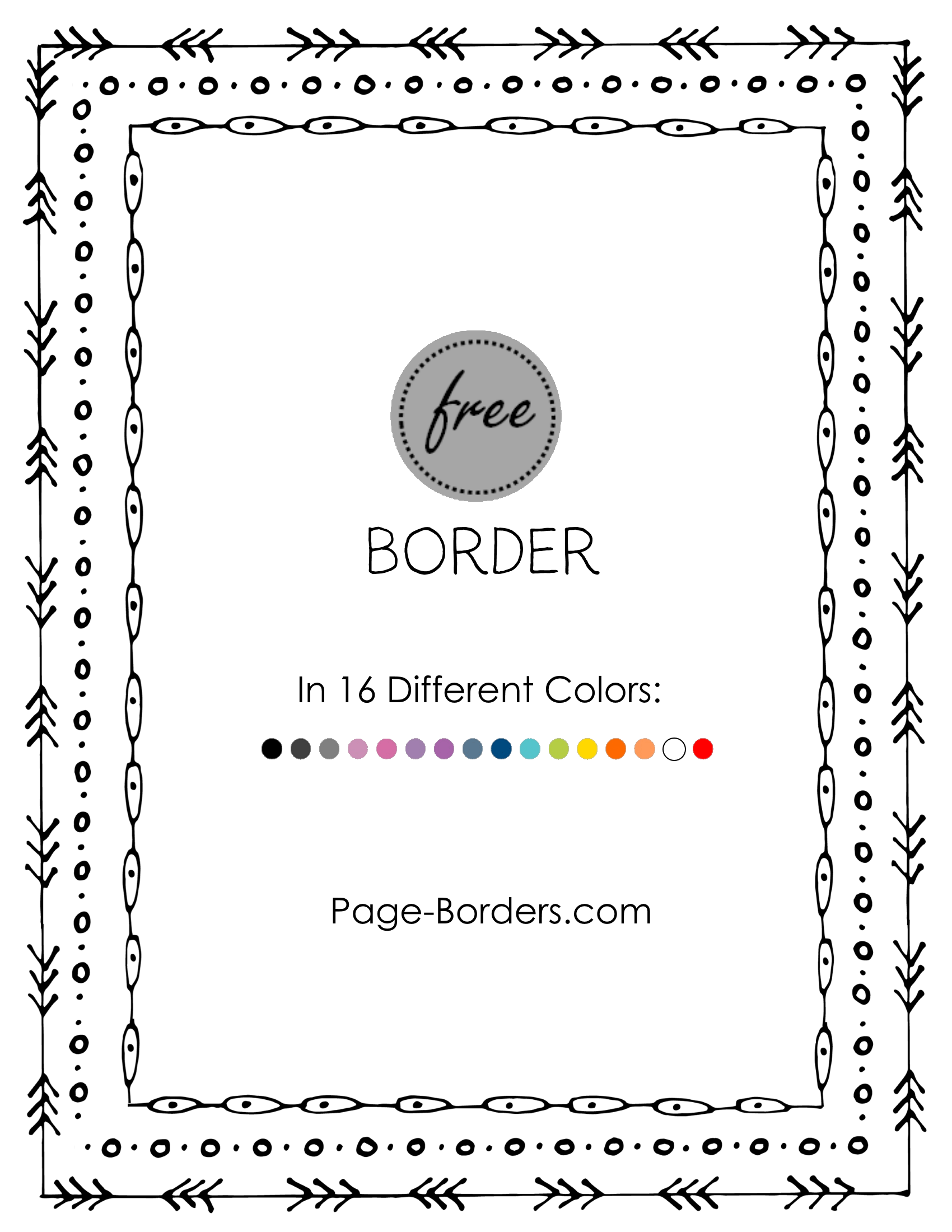 Free doodle png. Border customize online and