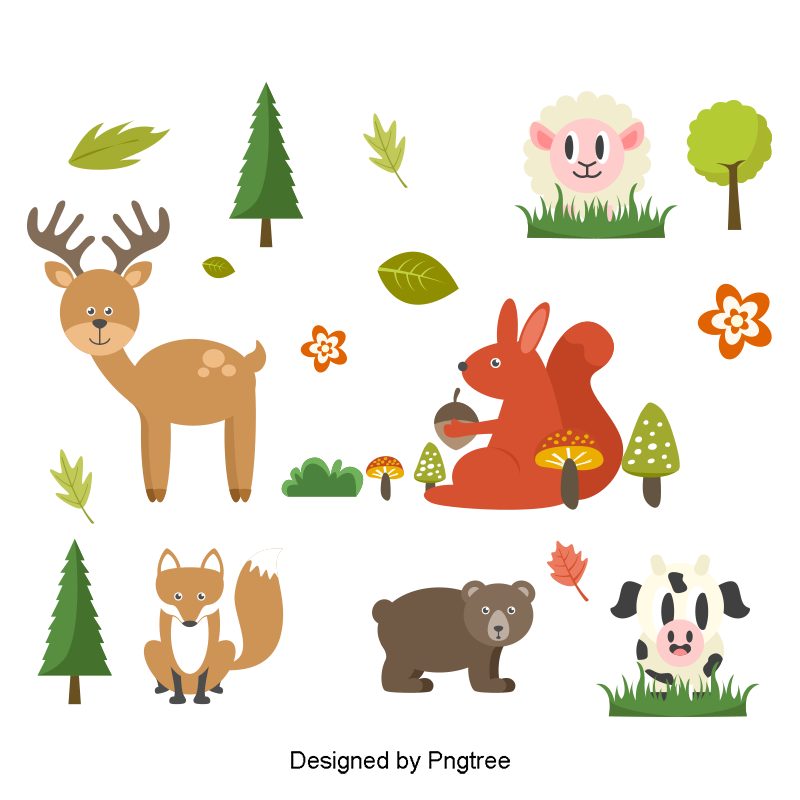 Farm animal png. Vector animals clipart and