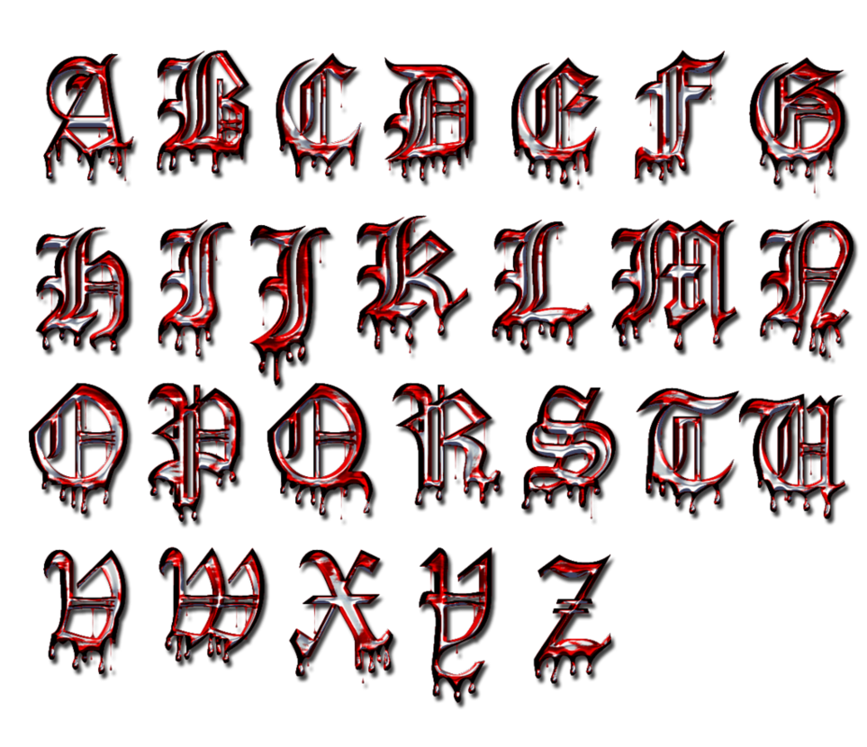 Free goth alphabet png. Gothic caps by collect