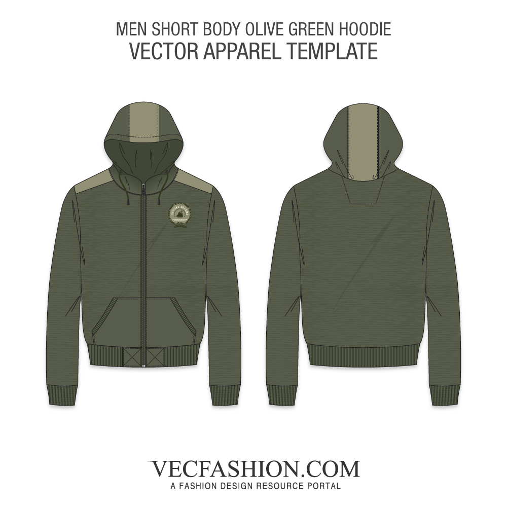 Free hoodie vector png. Short body olive green