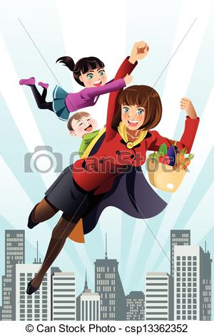 Super mom a vector. Mother clipart superhero png black and white library