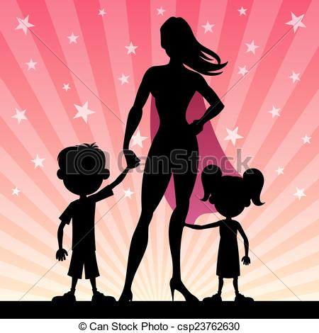 Super mom with her. Mother clipart superhero clip black and white stock