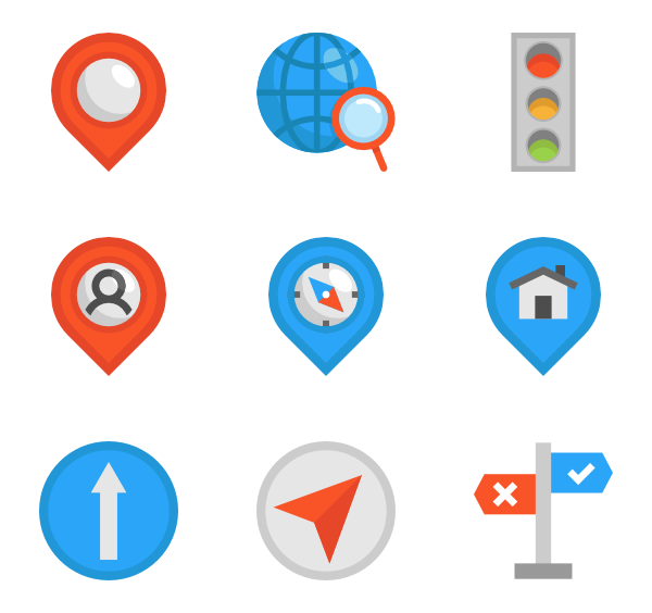 Svg markers bus. Navigate icons free vector