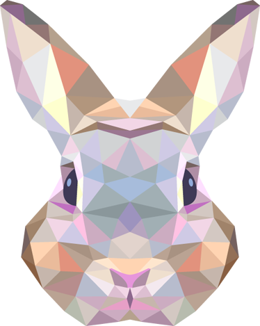 Drawing polygons bunny. Geometric rabbit decal abstract
