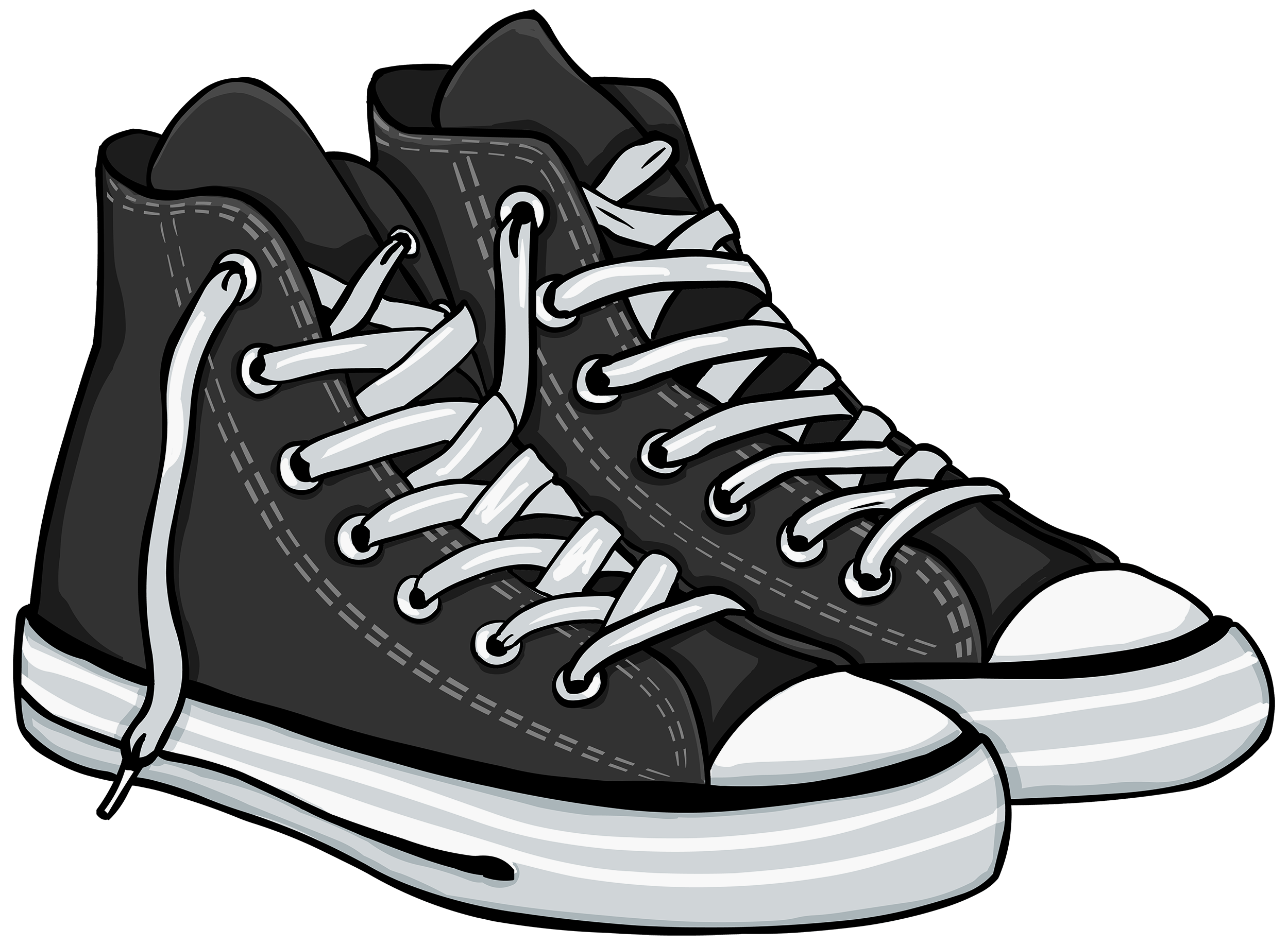 Free tennis shoe border clipart png. Shoes black and white