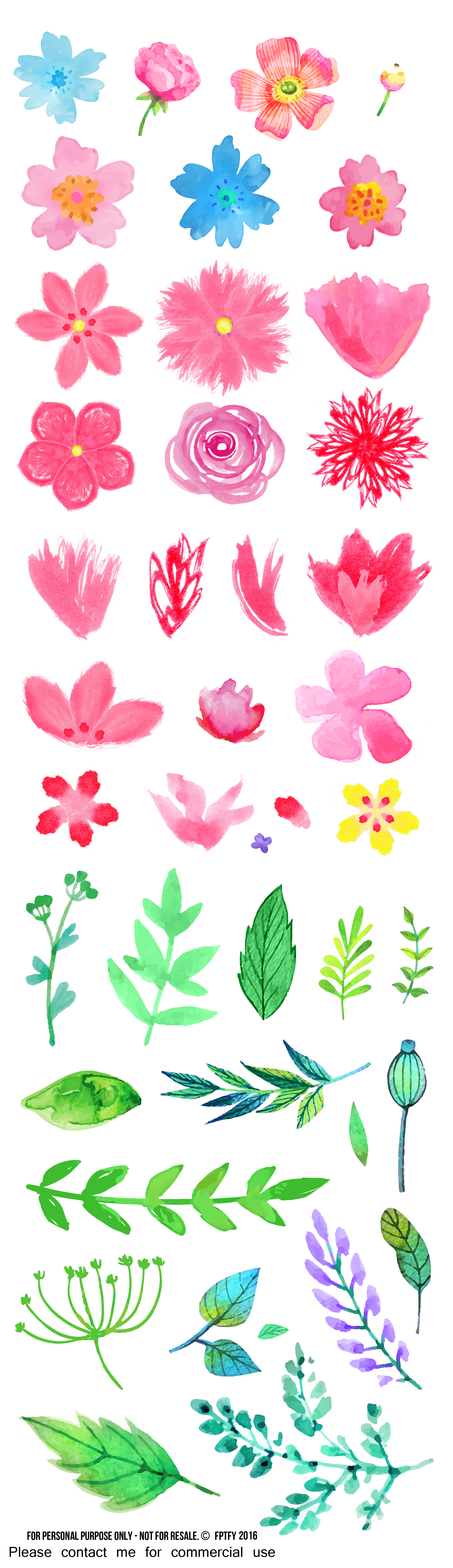 Free pretty things for. Flower clipart watercolor png download