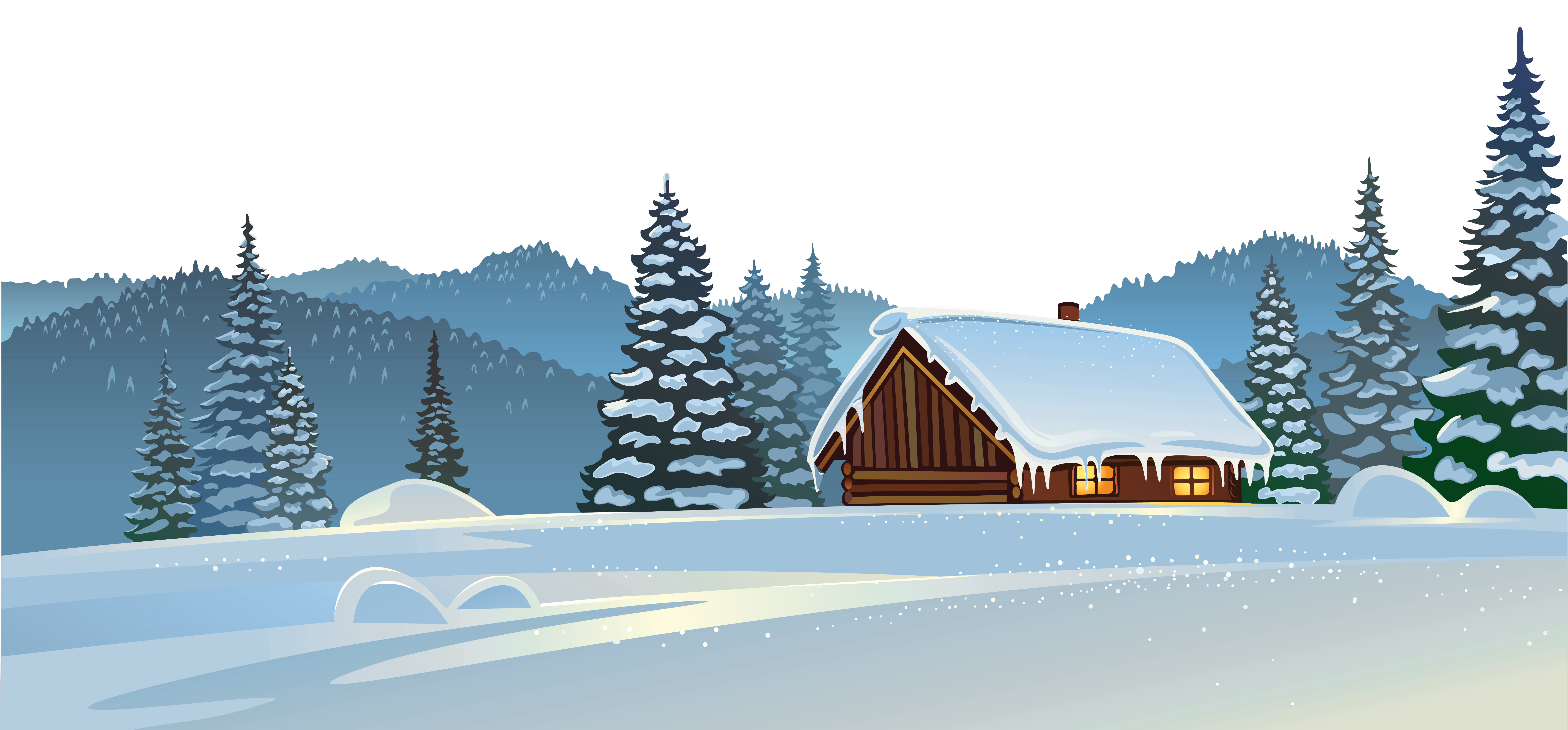 Snow clipart. Winter house and ground