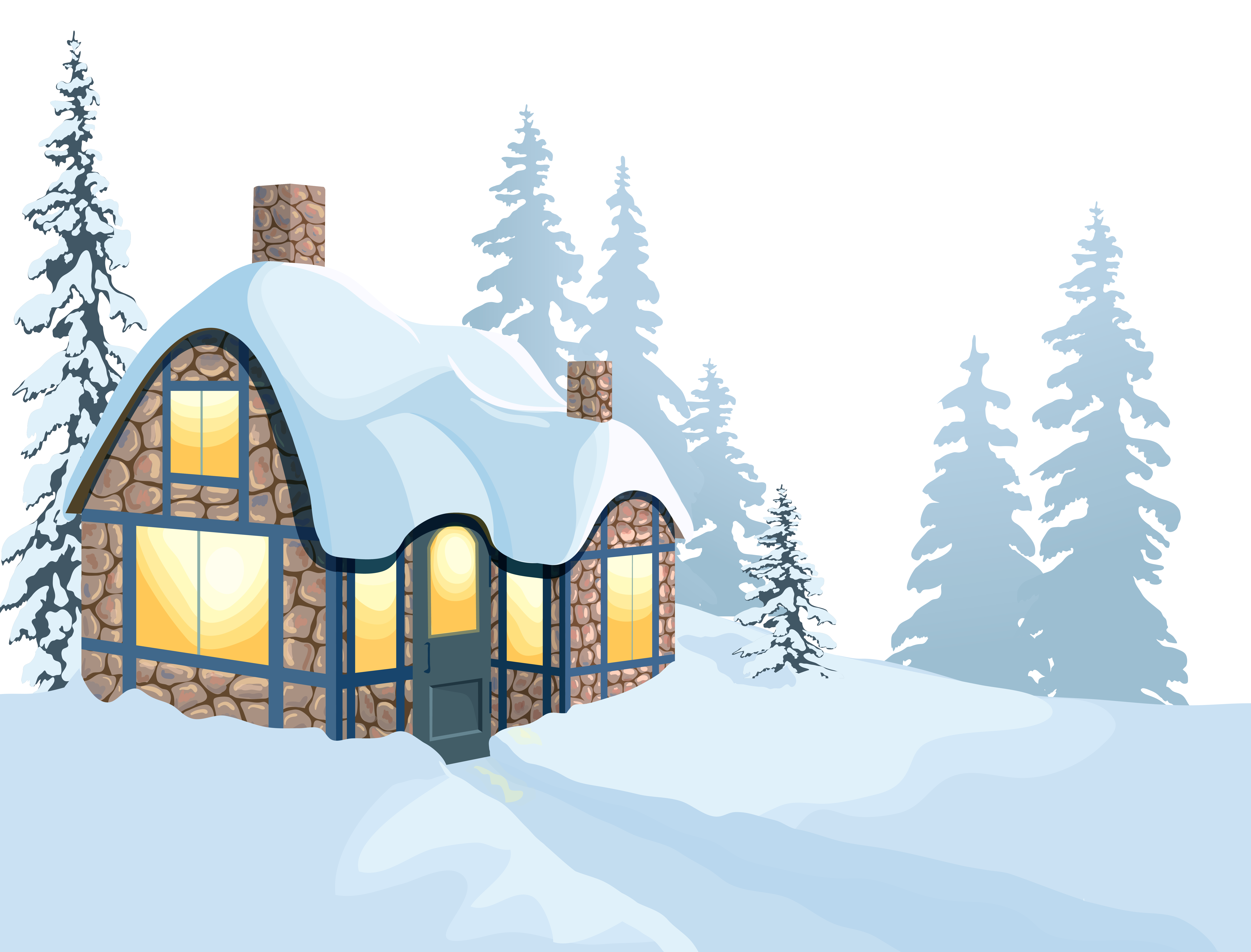 Free winter snowfall clipart png. House and snow image