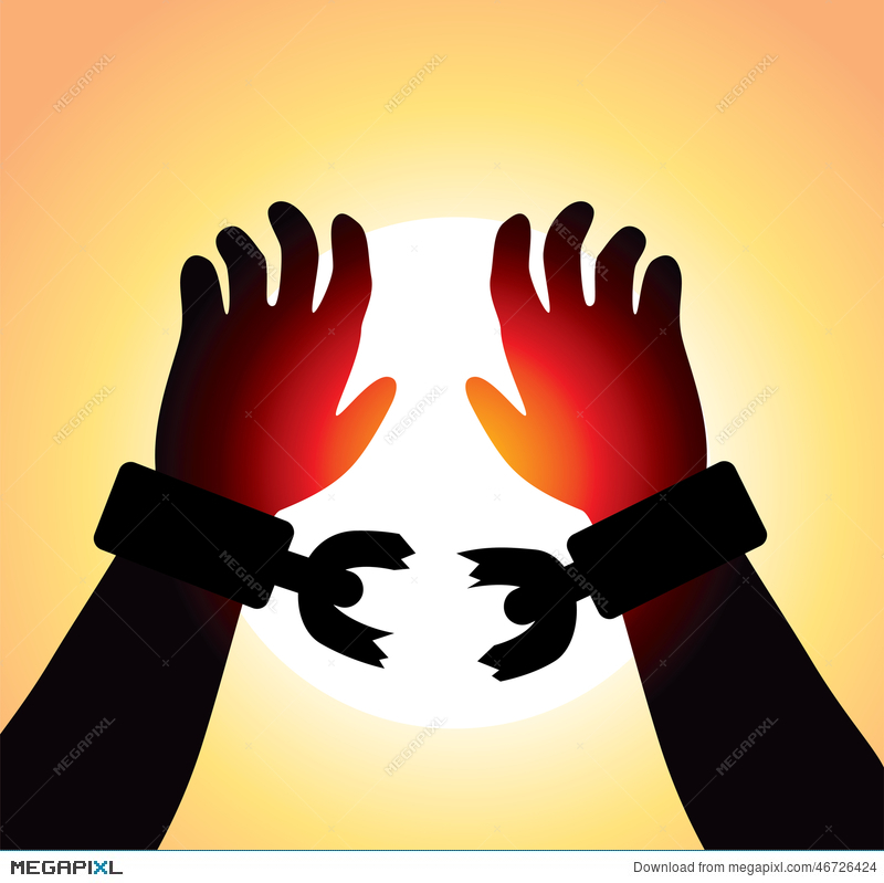 Freedom clipart broken chain. Vector raised hands with