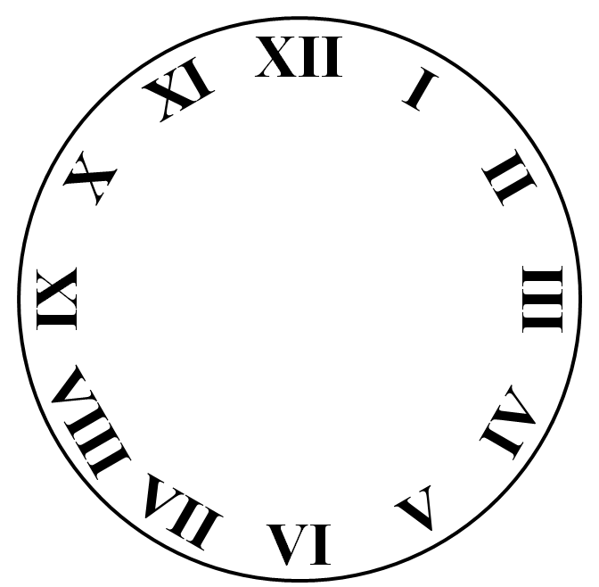 Freelance drawing clock. Art face template in