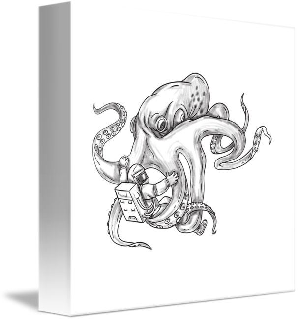 Freelance drawing octopus. Giant fighting astronaut tattoo