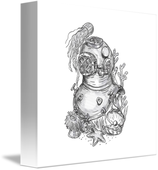 Freelance drawing old. School diving helmet tattoo