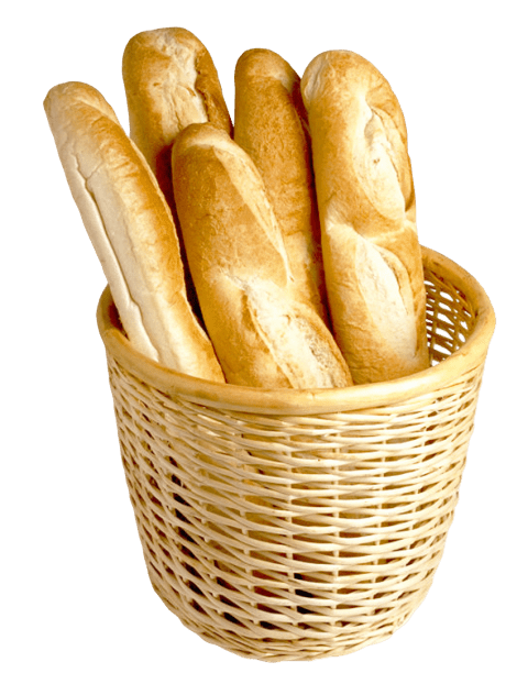 French baguette png. Bread in basket free