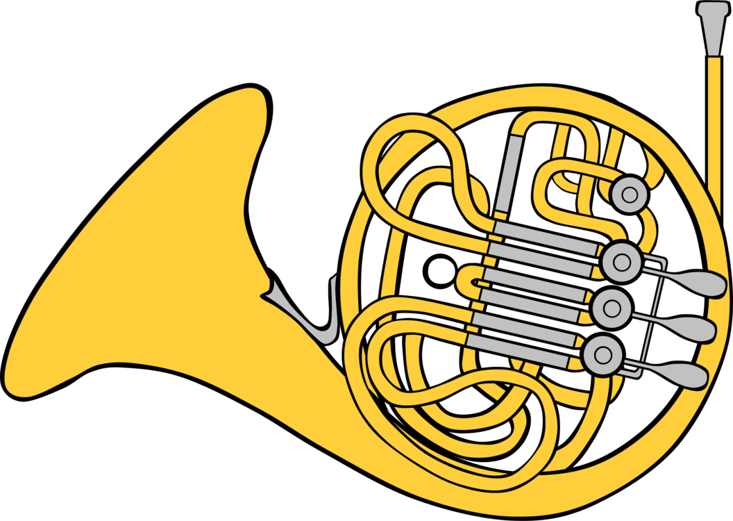 French drawing. Horns brass instruments musical