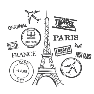 Paris quote png. Themed background clipart postmarks