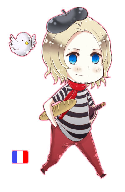 French drawing anime. Hetalia chibi france colored