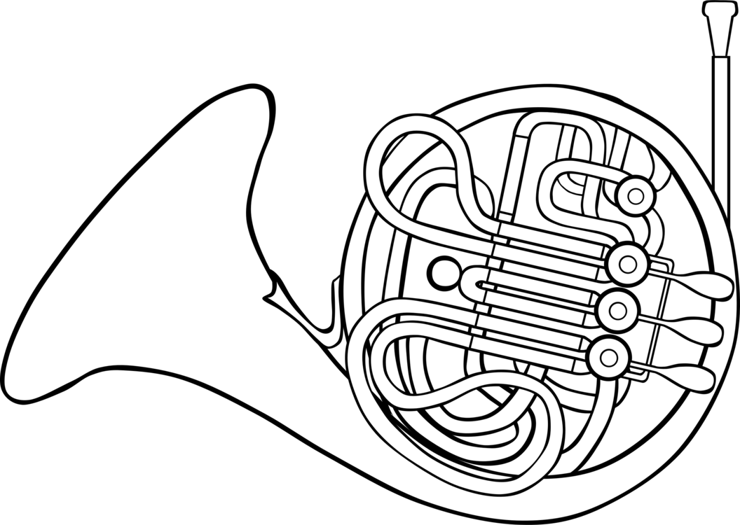 French drawing art. Horns brass instruments musical