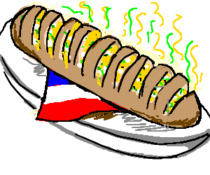 French drawing baked goods. Stinky garlic bread by