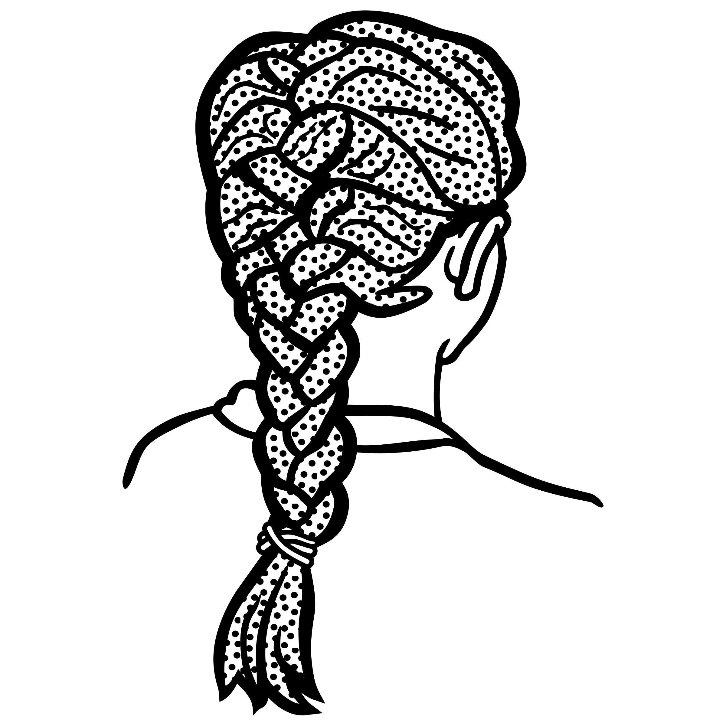 French drawing braid. Clipart lineart big image