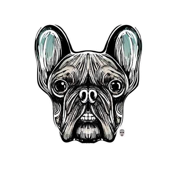 French drawing bulldog. Smilling t shirt for