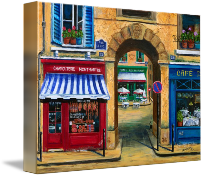 French drawing cafe. Butcher shop and by