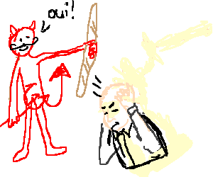 French drawing gesture. Devil hitting bald man