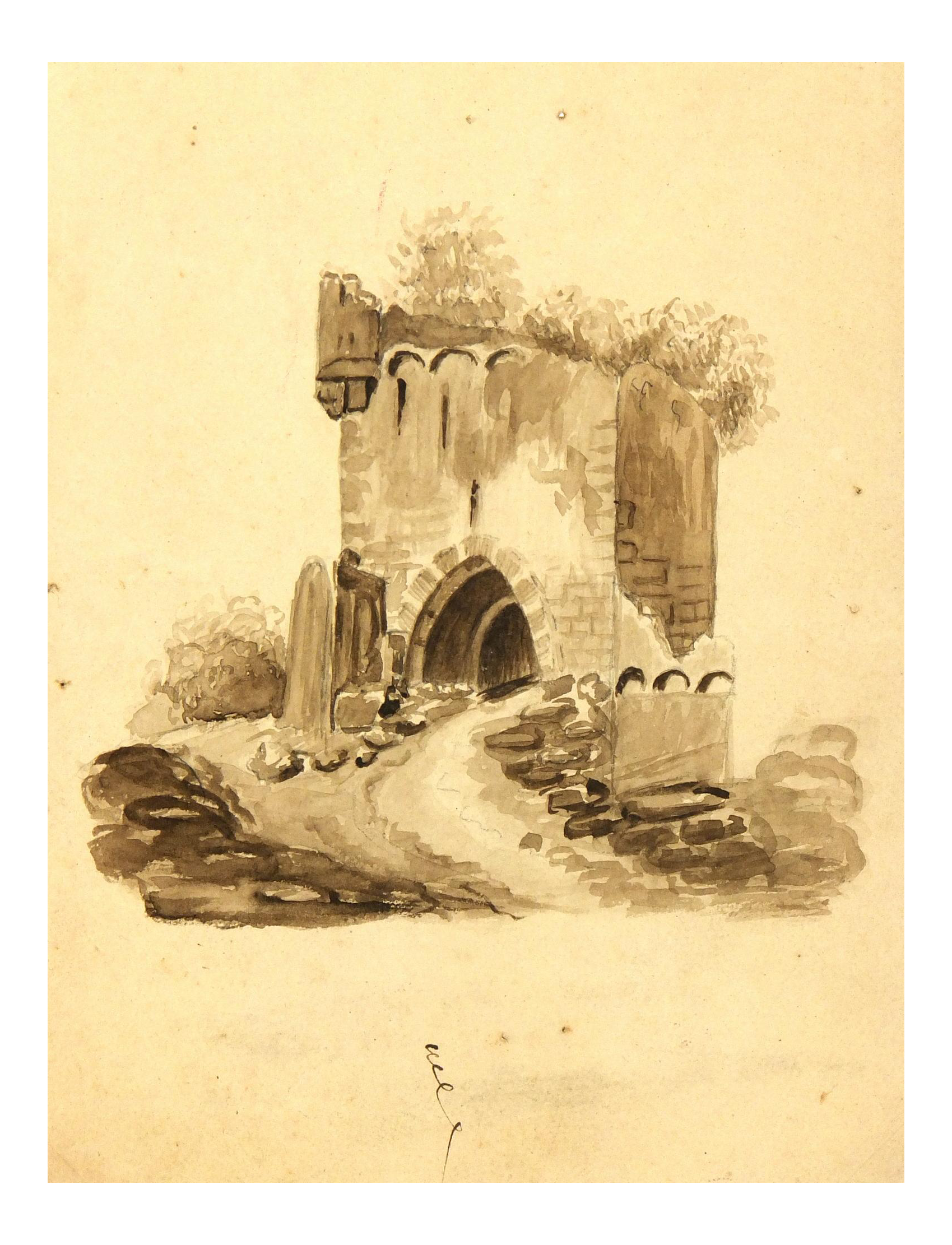 Ruins drawing arch. Original french tower ink