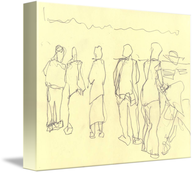 French drawing sketch. Market by gordon aitcheson
