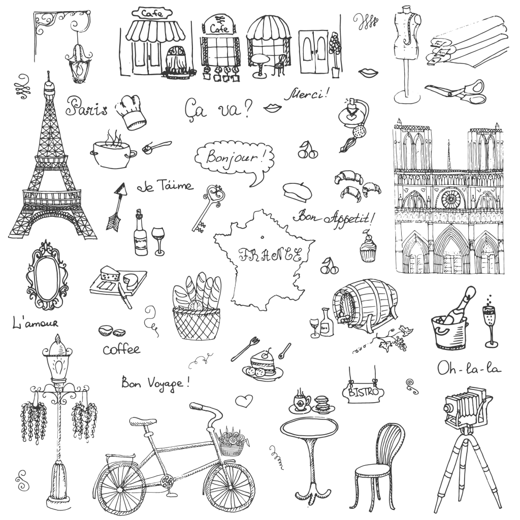 Paris cuisine transprent png. French drawing style clip art freeuse