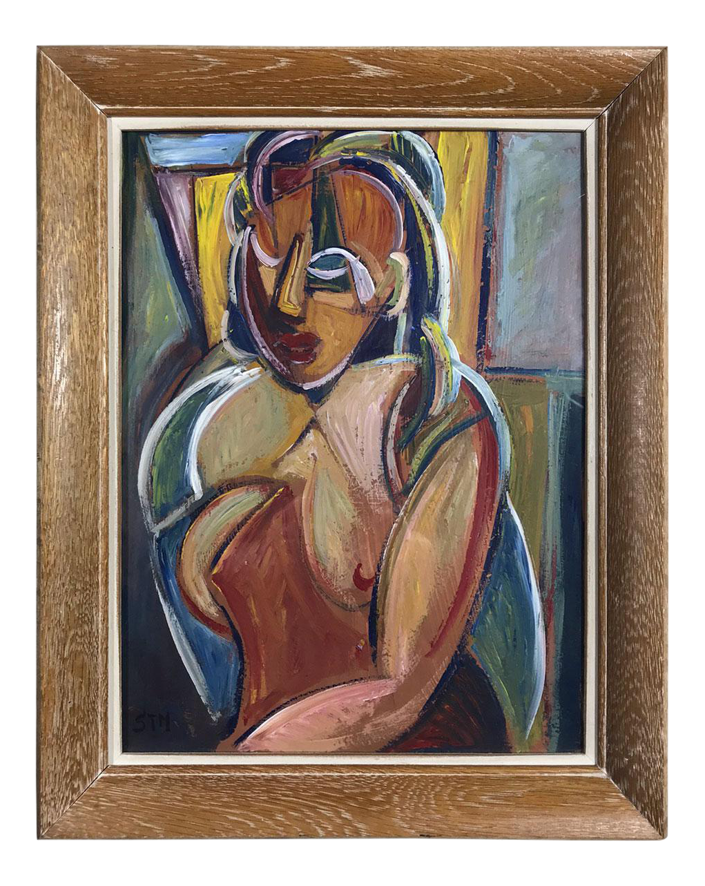 French drawing surreal. Vintage cubist portrait chairish