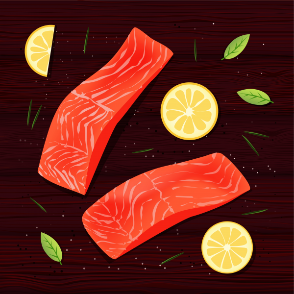 Fresh salmon filet with lemon slices. Spices rosemary and
