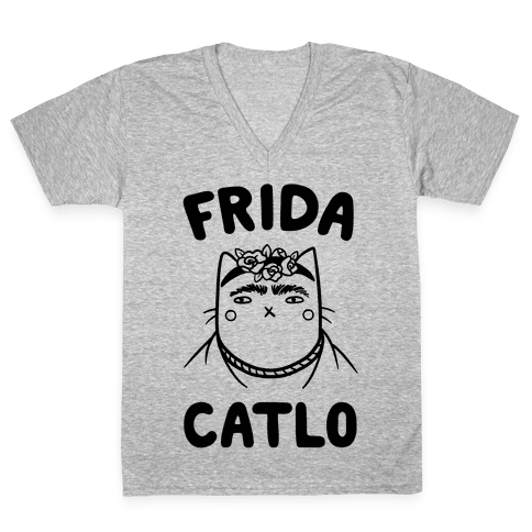 V drawing smile. Frida kahlo neck tee