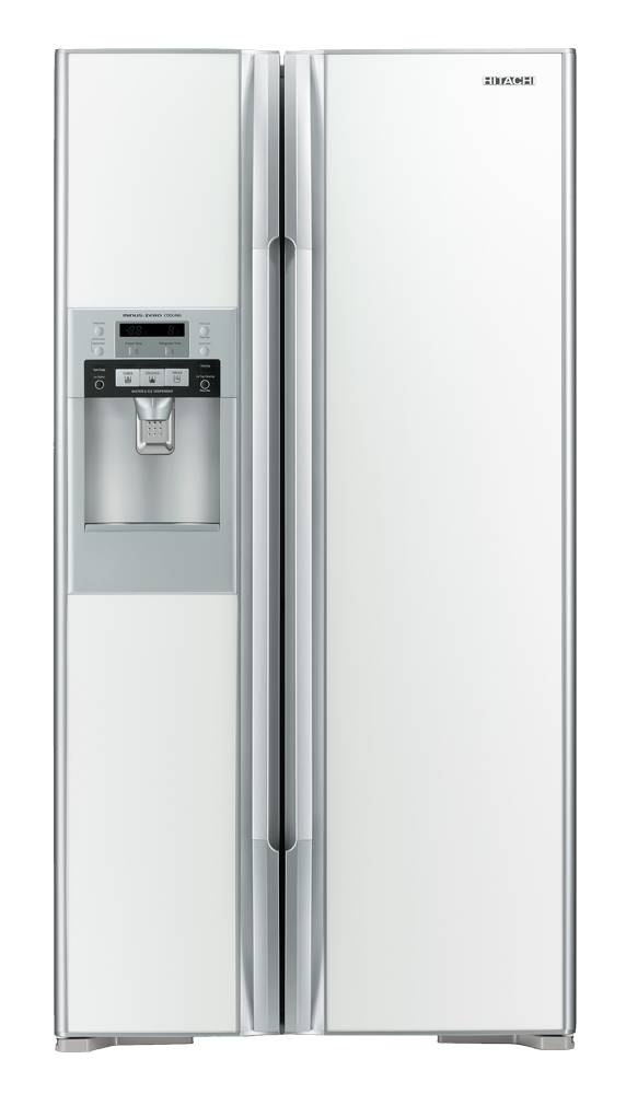 Fridge transparent home. Hitachi side by with