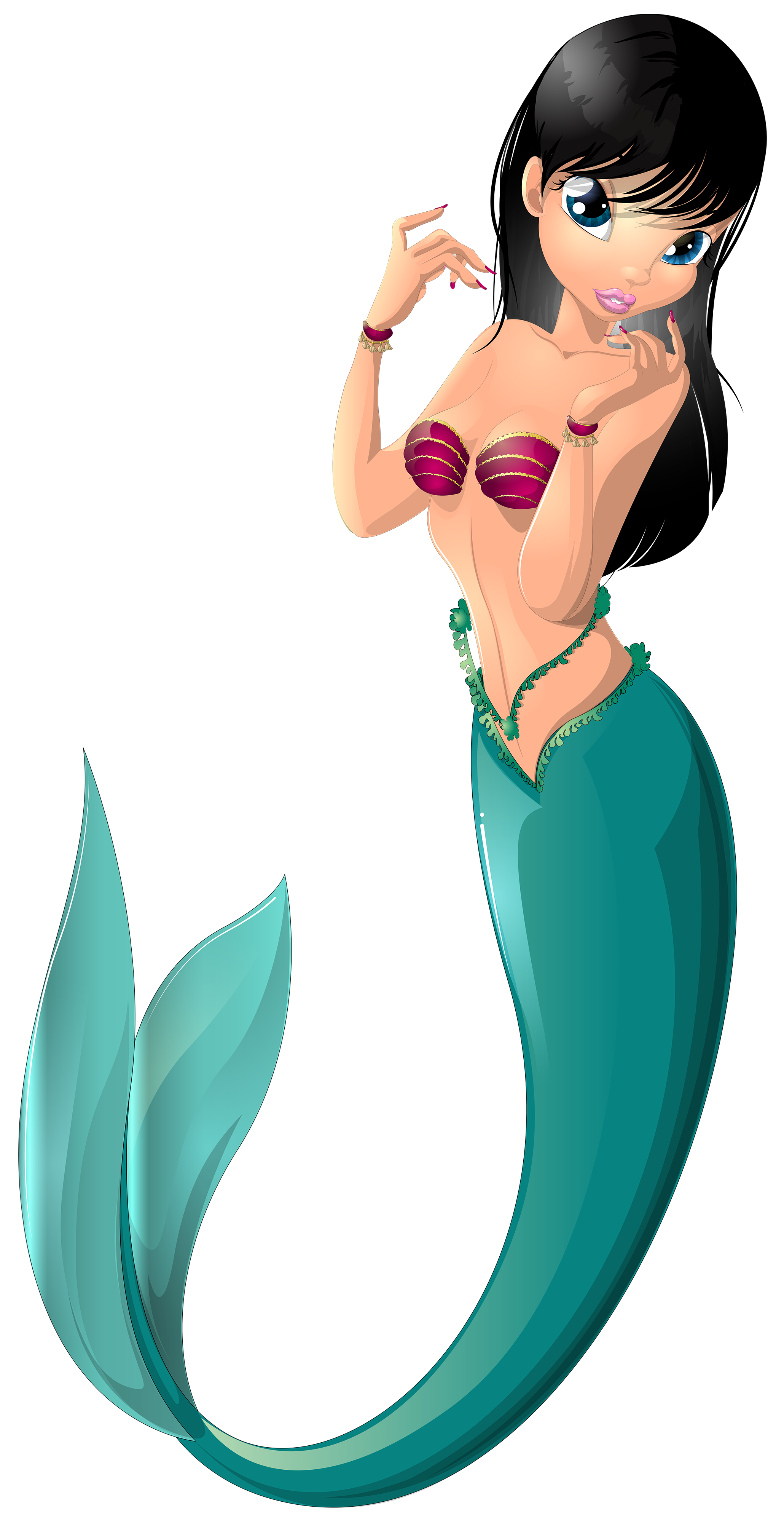 Mermaid clipart cartoon. Clip art image svg