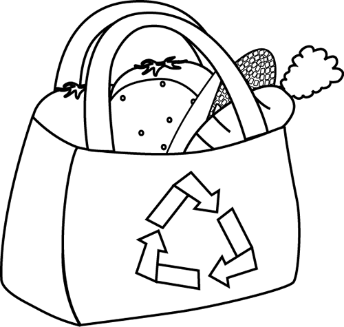 Friendly clipart black and white. Eco grocery bag clip