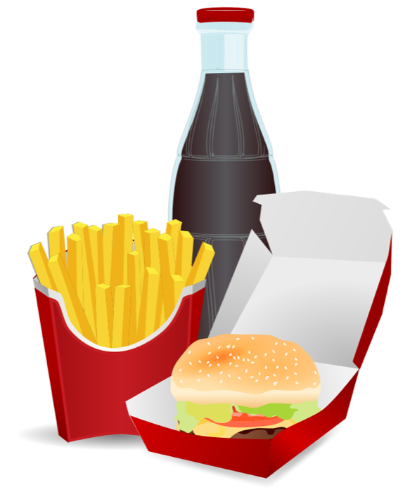 Fries clipart pizza. Fast food burgers hot