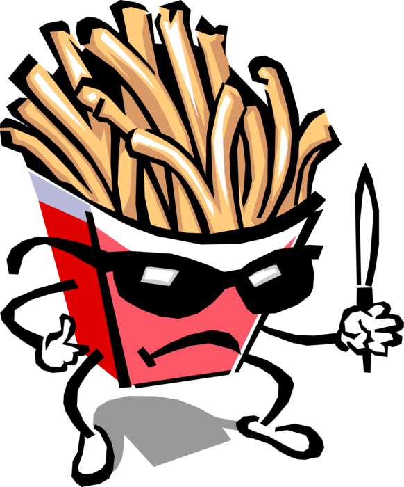 Fries vector frying. Humanoid french fry guy