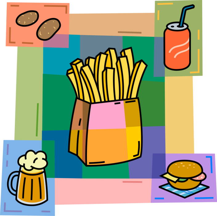 Fries vector drink. French image illustration of