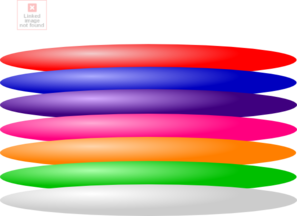 Frisbee vector flying saucer. Colored plates clip art