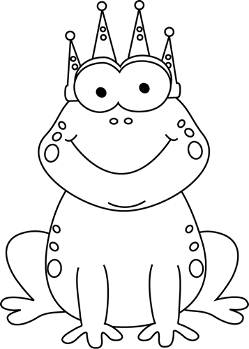 Frog clipart black and white. Clip art prince image