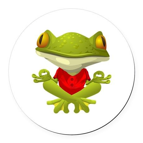 Frog clipart yoga. Round car magnet on