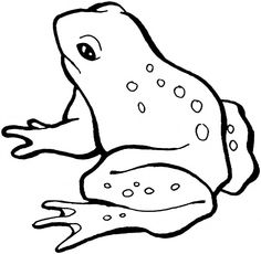 Frogs clipart printable. Black and white cartoon