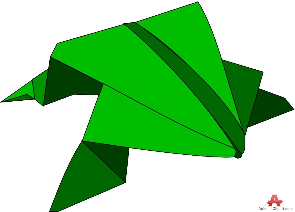 Frogs clipart shape. Origami paper in the